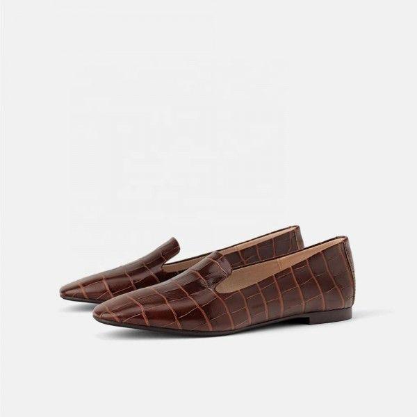 Ladies Fashion Patent Brown Color Python Snake Pri...