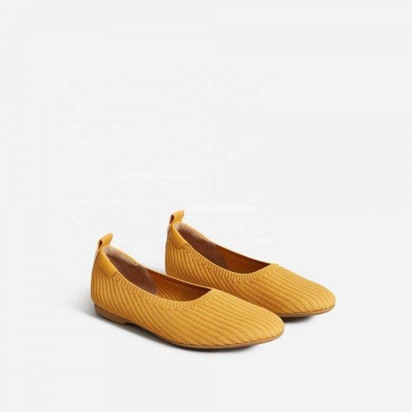 Women Comfortable Big Sizes Elastic Knit Fabric Flat Dress Shoes