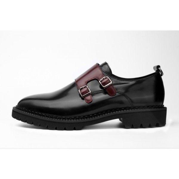 2019 new round head British leather shoes buckle black men's shoes Korean version fashion shoes mengke shoes men's shoes thick sole
