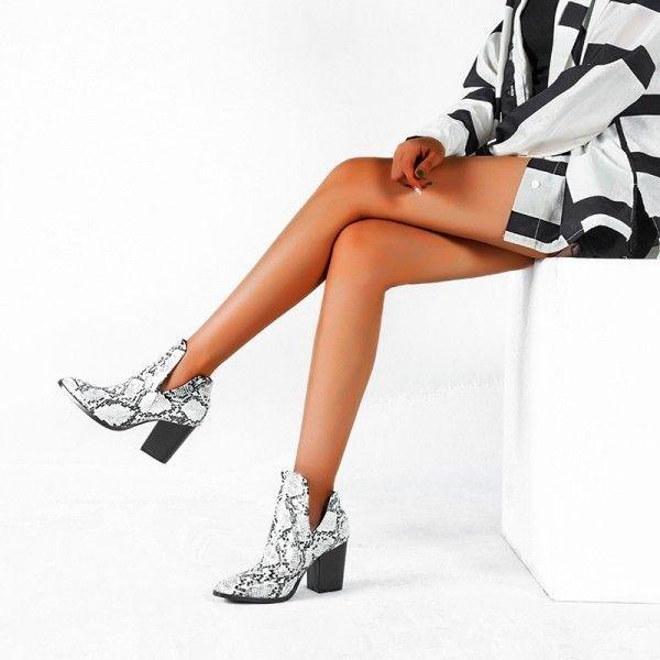 Snakeskin pattern ankle boots women's shoes cross-...