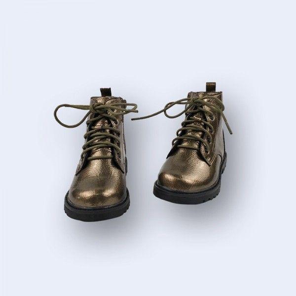 Children's bright skin short velvet mid-leg boots autumn winter new boys and girls gender neutral British Martin boots for children's boots