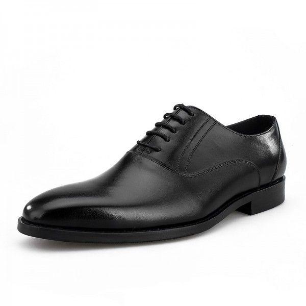 Autumn men's leather business dress shoes Korean version trend new British color manual lace-up leather shoes
